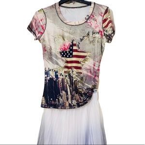 NEW Graphic Red White Blue Stars Graffiti Top